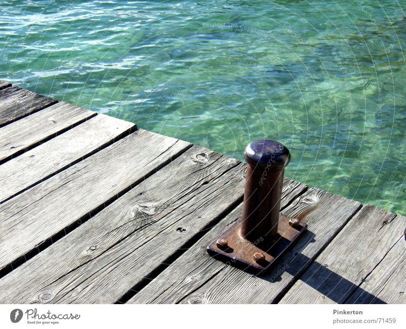 Water Old Blue Wood Gray Watercraft Waves Rust Turquoise Footbridge Jetty Iron