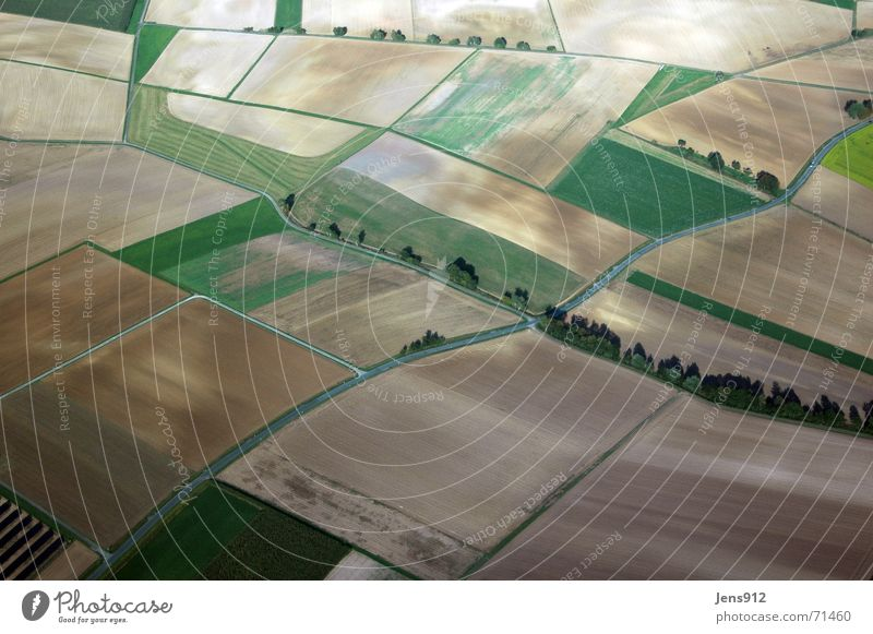 Thuringia on Sunday Agriculture Arable land Field Footpath Green Tree Bushes Aerial photograph Bird's-eye view Meadow southern Thuringia Landscape Street Line