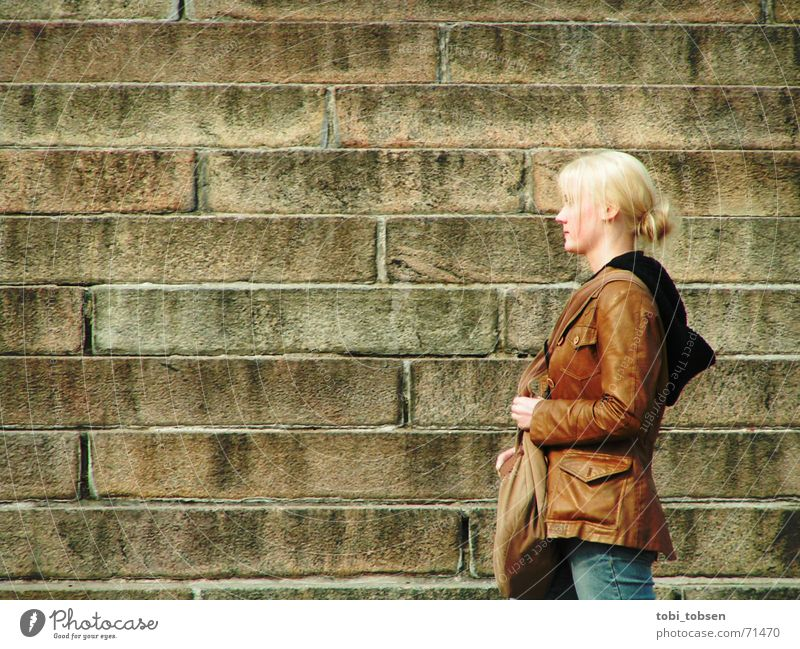 Finland's beauties Helsinki Blonde Woman Exterior shot Silhouette Stairs Profile