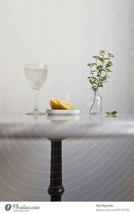 At the marble table IV Beverage Cold drink Drinking water Living or residing Flat (apartment) Table Stone Glass Metal Fresh Healthy Juicy Clean Gray White
