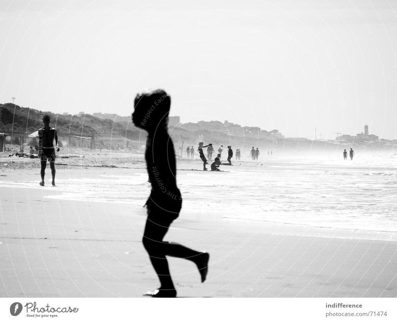 End of summer *series* Summer Beach child boy sea wave Sand black white blur walk