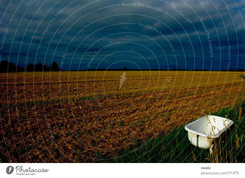 White Green Blue Clouds Meadow Autumn Field Bathroom Harvest Thunder and lightning Bathtub