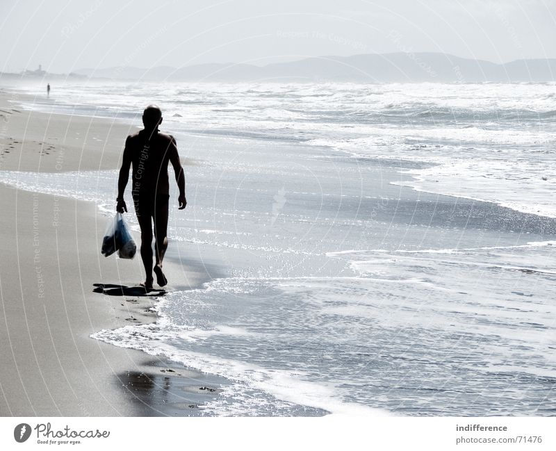 End of summer *series* Beach Summer Italy man walk wave sea water Sand walking tuscany
