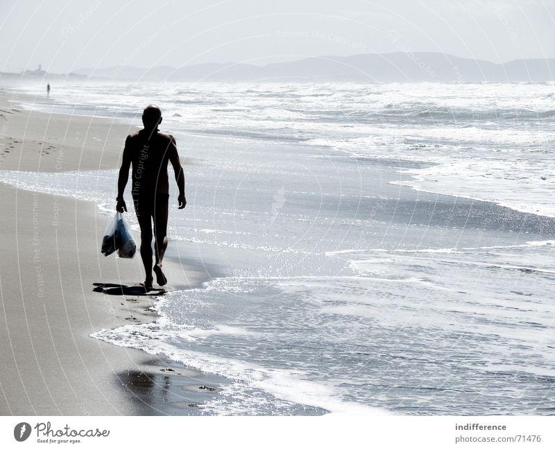 End of summer *series* Beach Summer Italy man walk wave sea water Sand walking tuscany