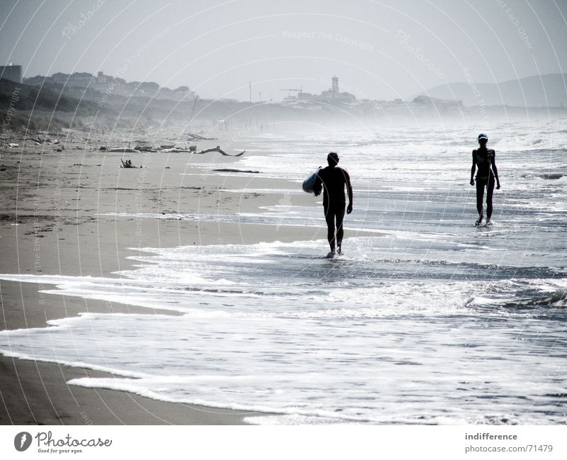 End of summer *series* Human being Beach Summer Italy woman wave sea water Sand tuscany