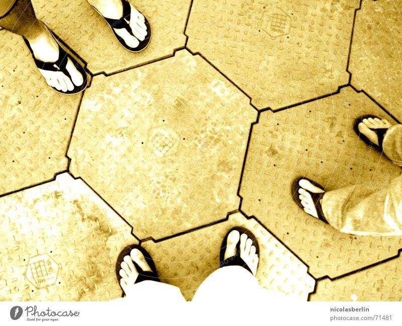 sticked on yellow Flip-flops Hexagon Yellow 2 3 6 Friendship Feet Bright Floor covering Dialog partner Multiple festival-floor slippery-wet waber-floor