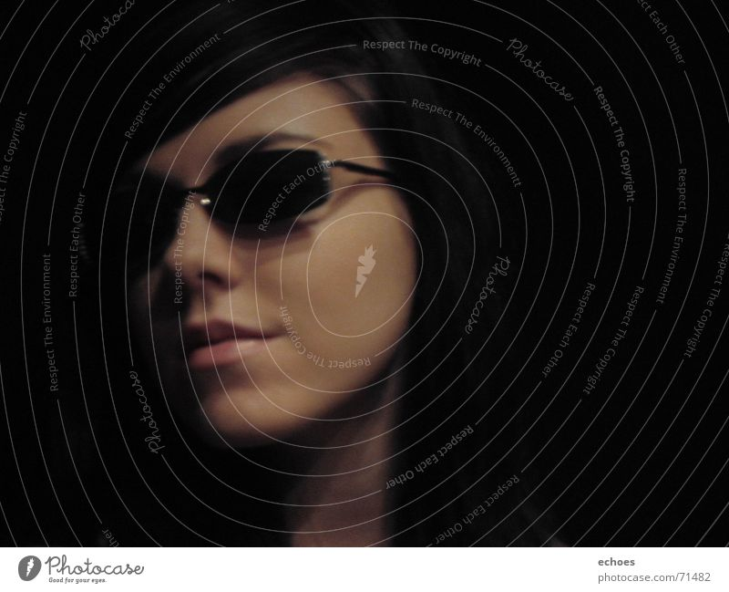 Beautiful Face Black Dark Laughter Model Mysterious Sunglasses