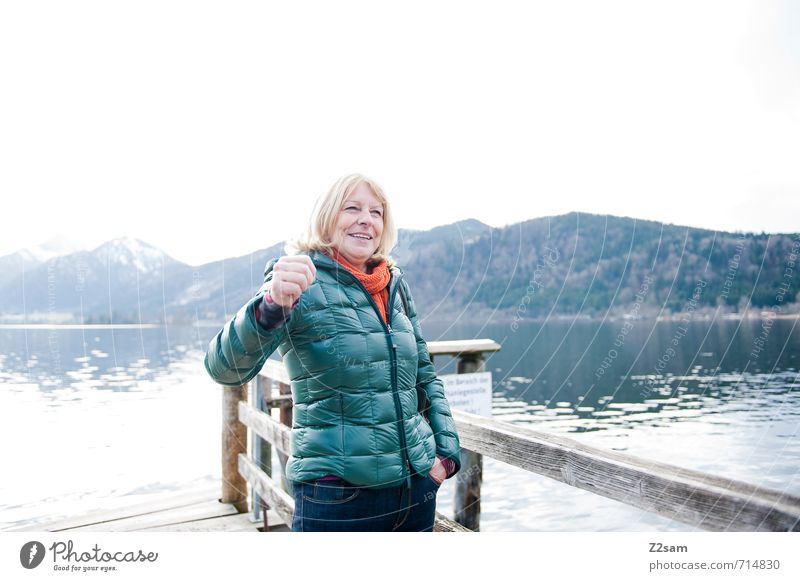 Yay! Lifestyle Leisure and hobbies Feminine Female senior Woman 1 Human being 45 - 60 years Adults Environment Nature Landscape Water Autumn Bad weather Alps