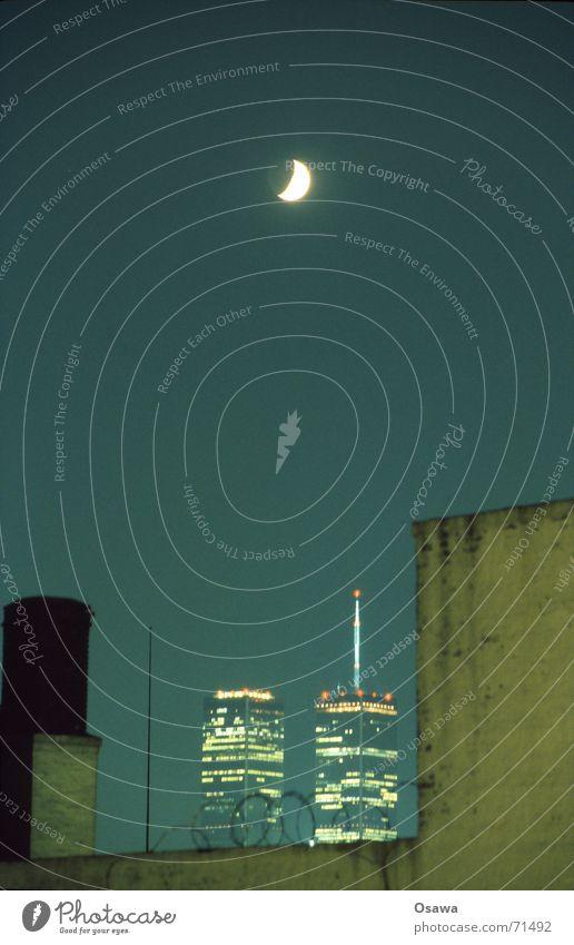 || || World Trade Center New York City Half moon Barbed wire Night Night sky 9/11 Moon Sky