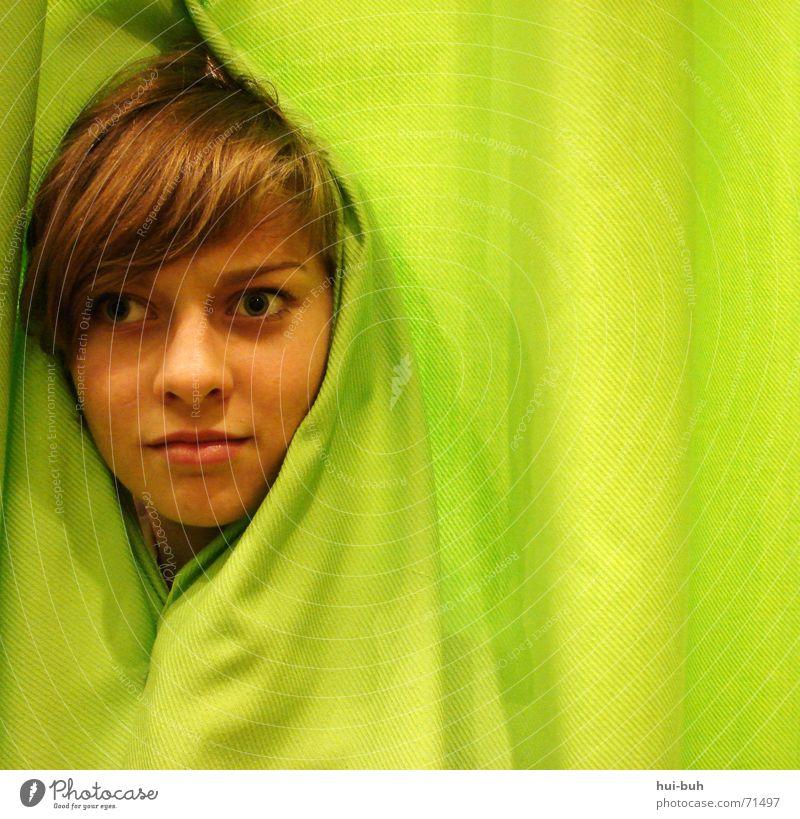 Human being Green Head Empty Wrinkles Square Drape Distress Fate Horror Maze Understanding Comprehend Irony