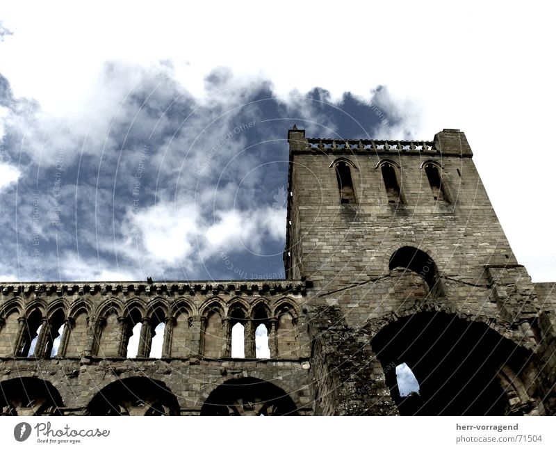 Scotland I Ruin Bad weather Religion and faith Perspective Sky Clouds Stone Loneliness Destruction Castle