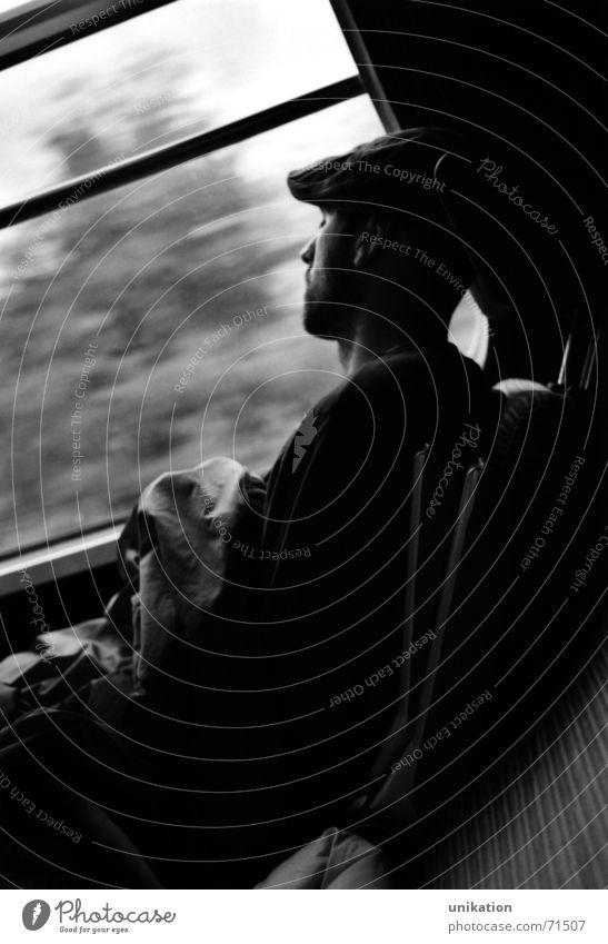 Train sleeper Railroad Dream Overnight train Train travel Interrail Vacation & Travel Man Window Train window Driving Siesta Black White long drive Window pane