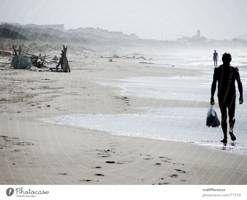End of summer *series* Human being Beach Summer Italy walking Sand sea wave water tuscany