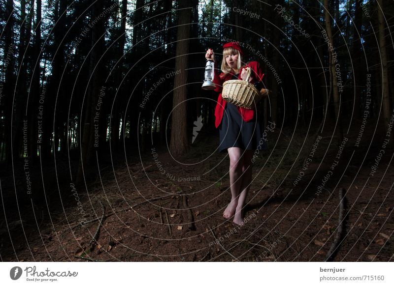 Human being Youth (Young adults) Tree Loneliness Red Young woman Girl 18 - 30 years Dark Forest Adults Emotions Feminine Lamp Going Fear