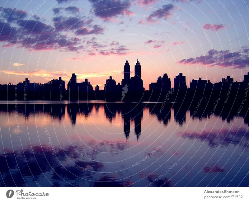 Central Park Sunset New York City Horizon reservoir Sky Evening Skyline