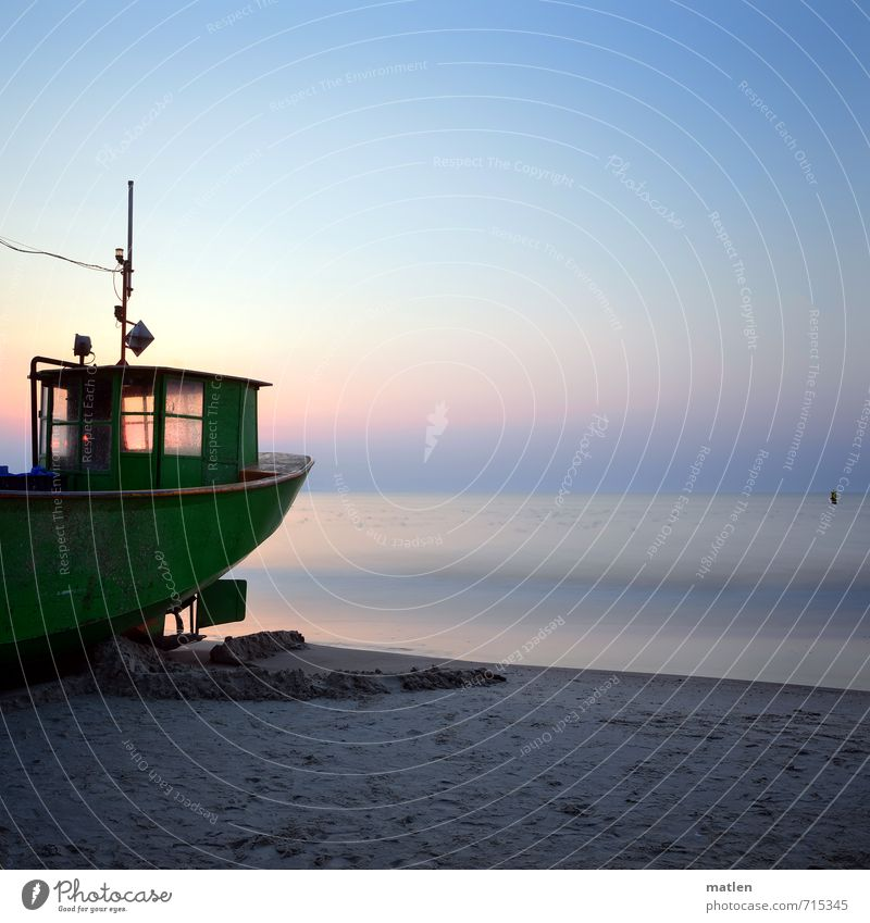 sunglasses Landscape Sand Water Sky Cloudless sky Sunrise Sunset Spring Weather Beautiful weather Coast Beach Ocean Navigation Fishing boat Blue Gray Green Pink
