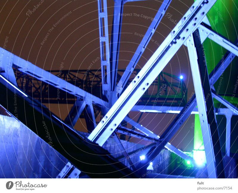 Green Blue Metal Industry Connection Steel Night shot Duisburg The Ruhr Steel carrier Landschaftspark Duisburg-Nord