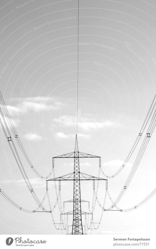 Sky Summer Loneliness Clouds Landscape Meadow Sadness Metal Power Wind Field Energy industry Electricity Cable Individual Industrial Photography