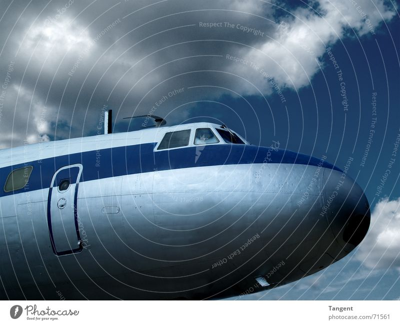 airline Aviation Sky Clouds Thunder and lightning Antenna Airplane Passenger plane Airport Cockpit Pilot Retro Blue Covers (Construction) Classic Close-up