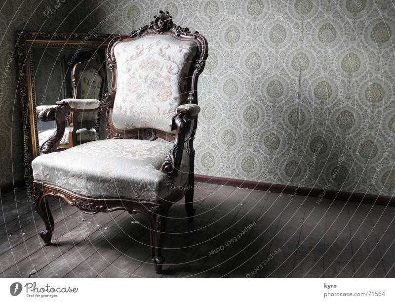 Old Dark Wood Legs Brown Arm Corner Chair Floor covering Image Mirror Wallpaper Hallway Material Mirror image Backrest