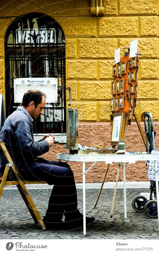 Vacation & Travel Calm Street Sit Table Italy Concentrate Creativity Thought Painter Alley Paintbox