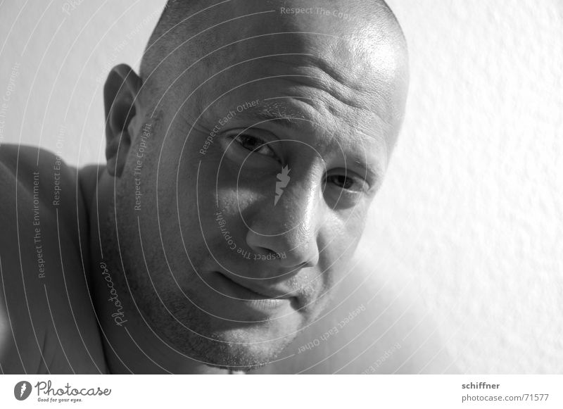 Draghar 3 Man Masculine Impish Cynical Bald or shaved head Hair loss Corner of the mouth Row Black & white photo Grinning Laughter Looking Face Nose Ear Eyes