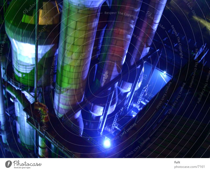 Green Blue Style Industry Steel Iron-pipe The Ruhr Night shot Duisburg Boiler Landschaftspark Duisburg-Nord