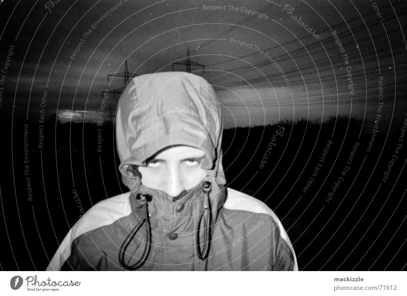 funbox Night Dark Man Hooded (clothing) Jacket Sky Cable Eyes Looking