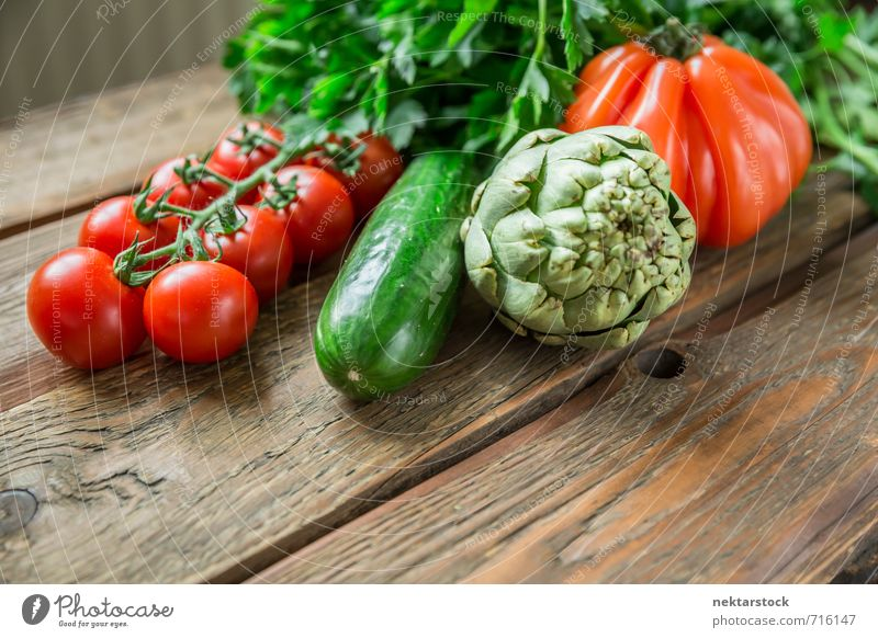 Fresh vegetables from the market Food Vegetable Lettuce Salad Nutrition Organic produce Vegetarian diet Diet Healthy wood Background picture tomato artichoke