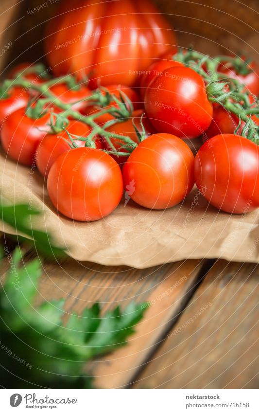 Tomatoes fresh from the market Food Vegetable Lettuce Salad Lifestyle Fresh Healthy vegetables wood Background picture tomato paper parsley farm organic harvest