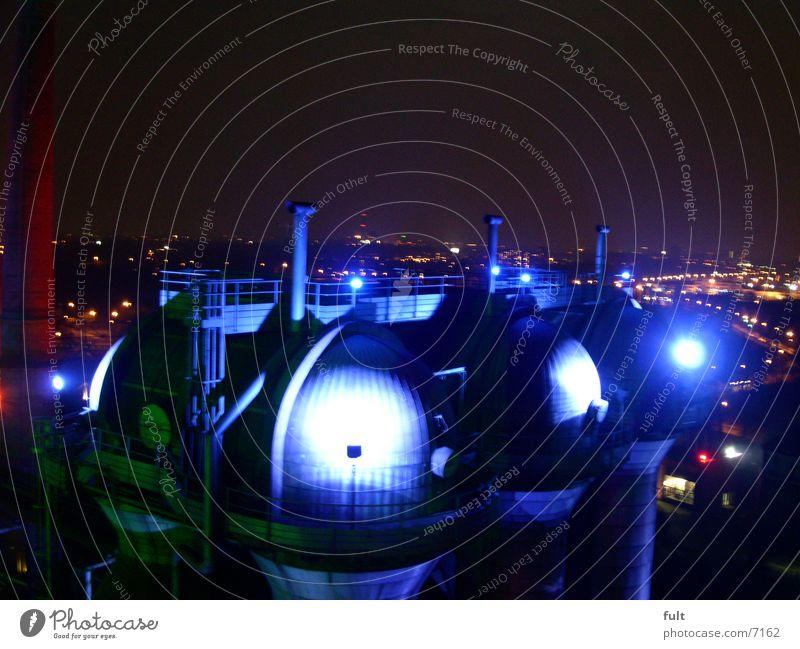 Blue City Lamp Industry Duisburg The Ruhr Domed roof Night shot Landschaftspark Duisburg-Nord