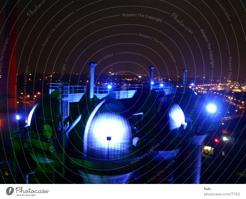 boiler plant Domed roof Light Town Night shot Landschaftspark Duisburg-Nord Industry Lamp Blue