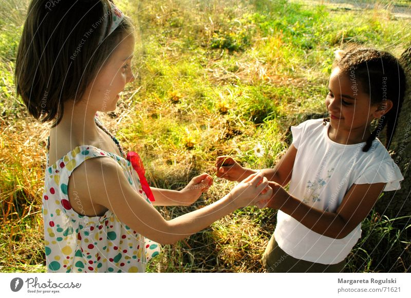both hands I hand you Dark Child Playing Meadow Braids Dress Hand Bright Nature