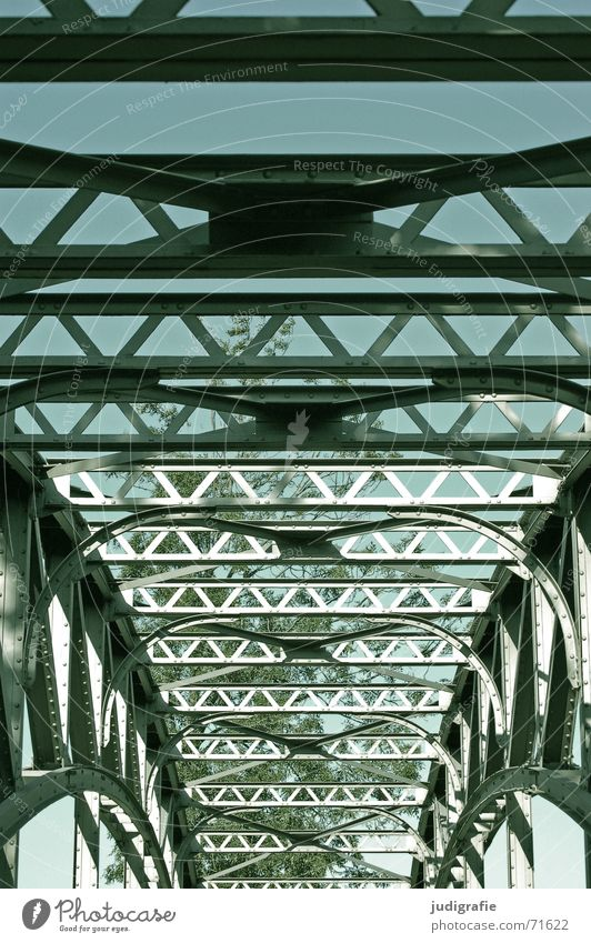 bridge structure Construction Steel Light Tree Symmetry Hannover Bridge Shadow Sky River Rope water art