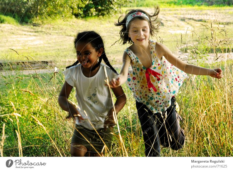 no worries Child Happiness Jump Playing Romp Nature Laughter