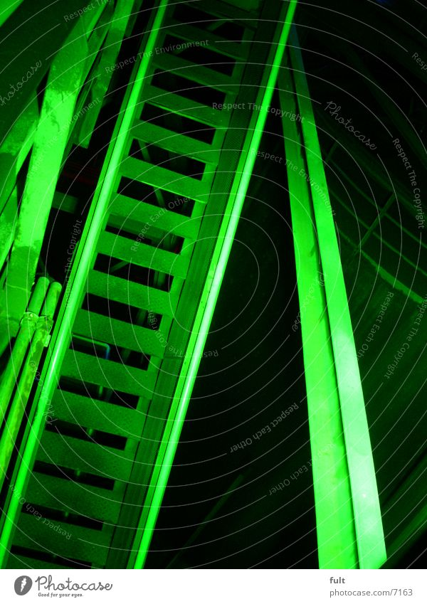 staircase Green Night shot Landschaftspark Duisburg-Nord Light Style Industry Stairs Handrail