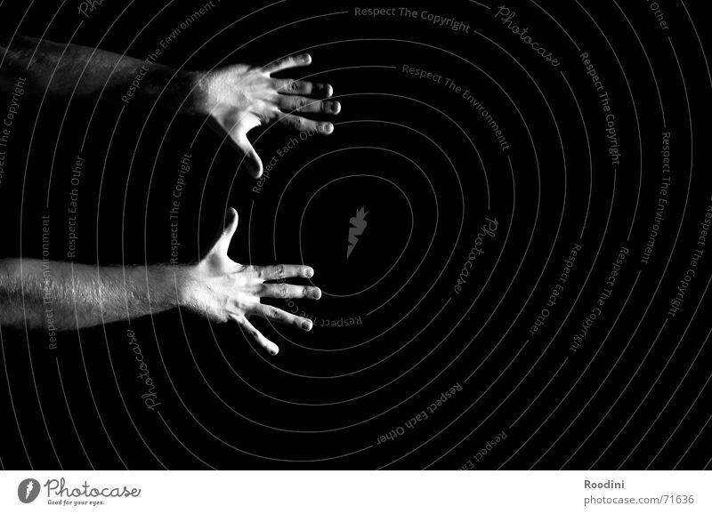 hands Hand Fingers Black White To hold on Release Stay Magic Magician Art Arm Black & white photo Contrast Catch To fall Power Human being Empty Energy industry