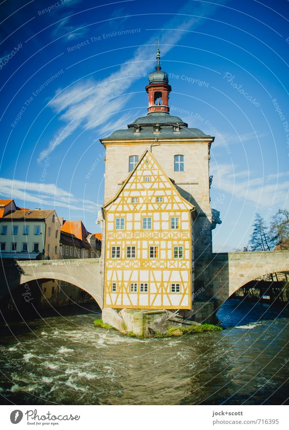 old town hall Sightseeing City trip Architecture Rococo Sky Winter River Regnitz river Bamberg Old town City hall bridge Half-timbered facade Facade