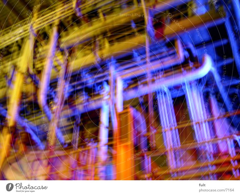 tubes Night shot Multicoloured Style Landschaftspark Duisburg-Nord Industry pipe system Pipe