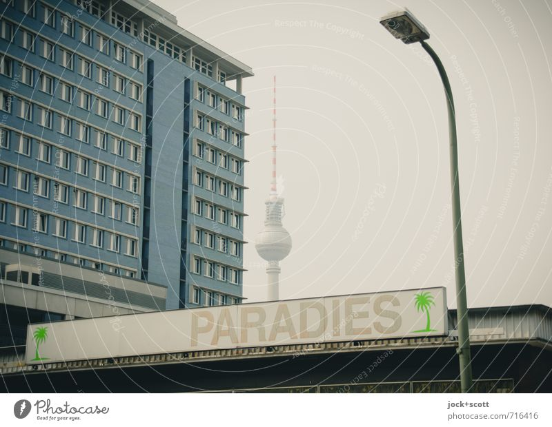 Nirvana in the urban jungle Downtown Berlin Facade Landmark Berlin TV Tower Lightbox Uniqueness Retro Moody Creativity Town Paradise Word Oasis Pictogram
