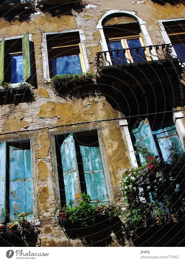 Venice Style House (Residential Structure) Window Shutter Balcony Plaster Shadow Old Blue renovation bottleneck (thank you:-))