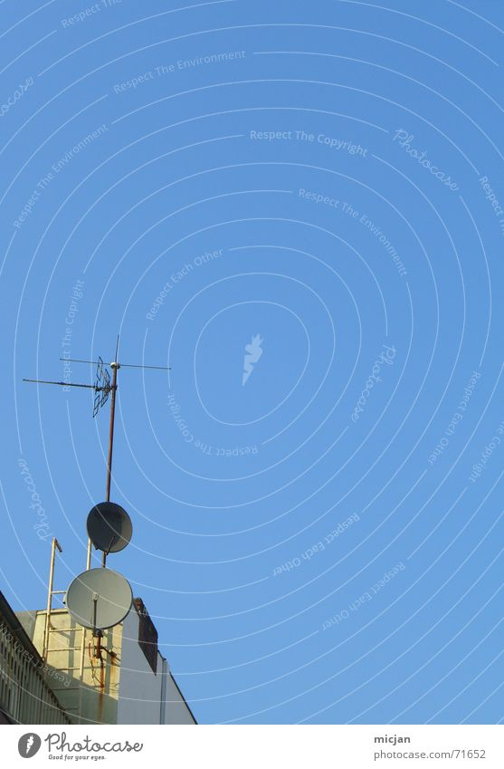 Sky Blue Yellow Stone Tall Circle Corner Future Round Roof Television Science & Research Radiation Ladder Antenna Beige