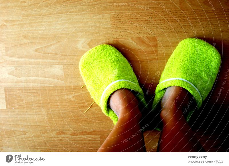 my green slippers Morning Arise Shuffle Cheap Comfortable Cozy Trite Green Footwear Cloth Soft Wood Pattern Flat (apartment) Laminate Wooden floor Slippers