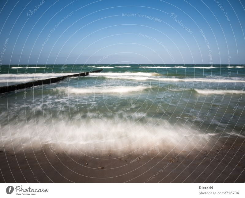 movement Beach Ocean Sand Water Baltic Sea Blue Brown White Mecklenburg-Western Pomerania Wustrow Break water White crest Long exposure Waves Horizon Sky