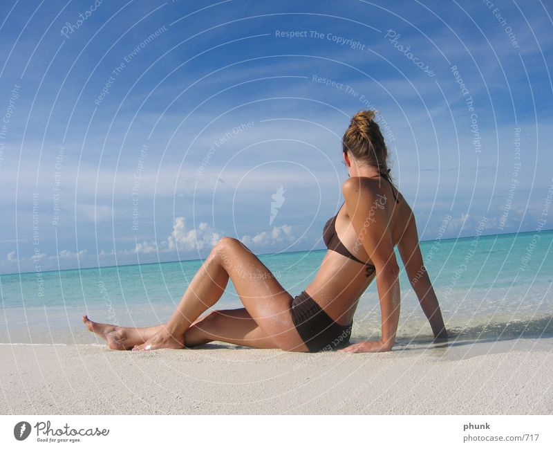 as in advertising Reef Lake Maldives Beach Ocean Sandbank Vacation & Travel Dive Bikini Dream Horizon Woman Beautiful dream vacation gazing honeymoon rashdu