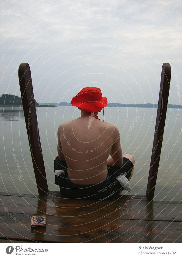 Lonely Jack Lake Wet Reflection Wood Swimming trunks flo Water Rain Body Back Hat Orange Swimming & Bathing