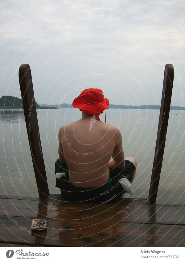 Water Wood Lake Rain Orange Body Wet Back Swimming & Bathing Hat Swimming trunks