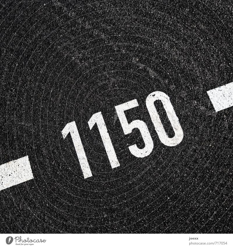 - 1150 - Digits and numbers Fat Large Black White Asphalt Colour photo Exterior shot Close-up Pattern Deserted Day Contrast