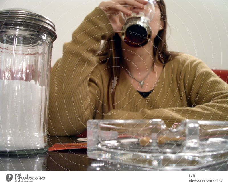 Woman Hand Wait Glass Table Drinking To enjoy Sweater Chain Neck Textiles Consumption Cola Sugar caster