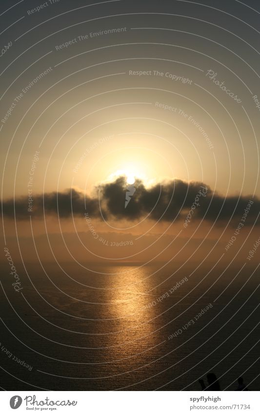 Clouds hit sunset Sunset Ocean Romance Light Evening Sky